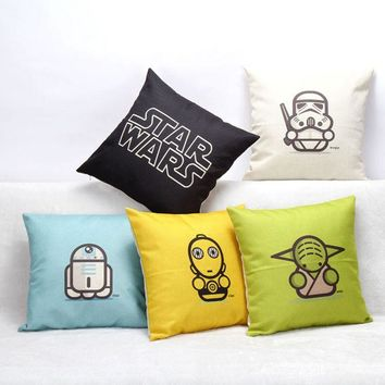 Hot Selling Cartoon Star Wars Series Cotton Linen Throw Pillow Cover Sofa Office Back Cushion Cover Baby Room Decorative SW174
