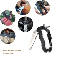 VONEW3J 5 in 1 Outdoor Survival Multifunctional Foldable Knife Quickdraw Carabiner Knife Screwdriver Hook Paracord Keychain Knife D Hook