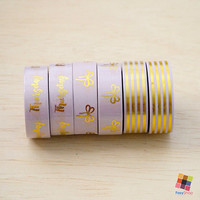 Purple Gold Collection - Gold Foiled 10m Washitape