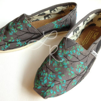 Branching outhand painted on TOMS shoesmade to by ArtfulSoles