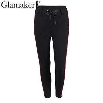 glamaker side stripe high waist pants capris Women drawstring sweatpants bottom female streetwear casaul pants trousers