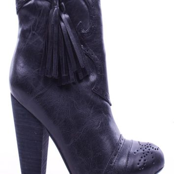 BLACK FAUX LEATHER WESTERN CLOSED TOE COWBOY BOOTS
