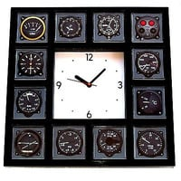 Pilot Airline Airplane Gauges cockpit Panel Black Clock with 12 dial images