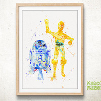 C3PO and R2D2, Star Wars - Watercolor, Art Print, Home Wall decor, Watercolor Print, Star Wars Poster