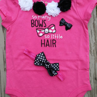 Baby Girl Onesuit - So Many Bows - Baby Shower Gift - Baby Photos - Headband - Polka Dot