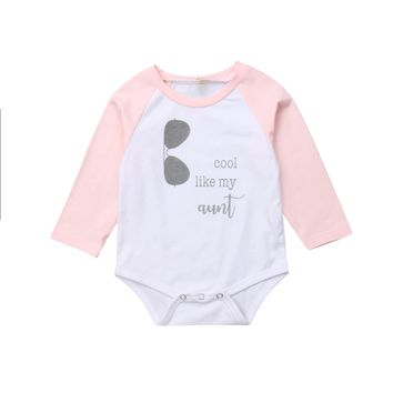 ppudcoco Newborn Kid Baby Girls Cool Like My Aunt  Bodysuit Jumpsuit Outfit Clothes  baby girl cotton fashion bodysuit