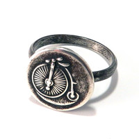 Vintage Bicycle Antique Button Ring - Sterling Silver Medium Band