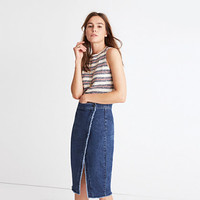 Raw-Hem Denim Midi Skirt