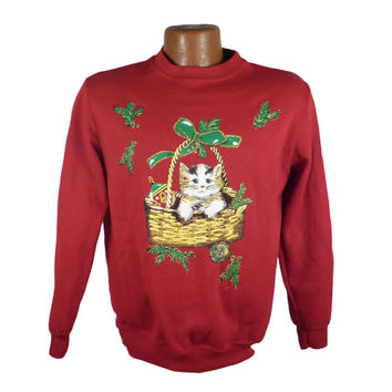 Ugly Christmas Sweater Vintage Sweatshirt Scene Cat Party Xmas Tacky Holiday