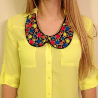 Bright Colors Collar Necklace, Black Light Reactant, New Materials