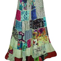 Mogul Interior Womens Patchwork Skirts Flowy Vintage Artistically Inspired Ethnic Printed Long Skirts