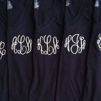 Monogram Vneck Tee. Great for bridal party, sorority, gift, etc