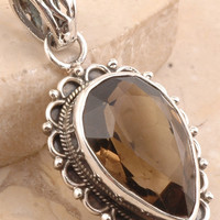 Spectacular Smoky Quartz Pendant Set in 925 Sterling Silver
