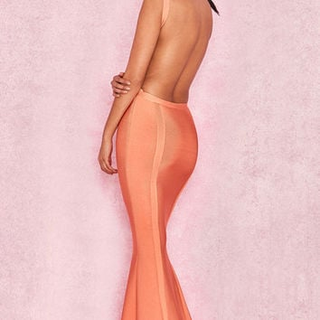 Clothing :: Dresses :: Maxi Dresses :: 'Ophelia' Tangerine Backless Maxi Bandage Dress - House of CB | Be Obsessed | Brit Designed Bandage Bodycon Dresses & Way More.