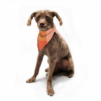 "Rosie Brown ""Pleasing Plaids"" Brown Orange Pattern Checker Digital Pet Bandana"