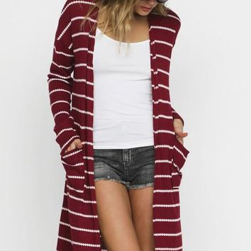Striped Thermal Pocket Duster Cardigan in Wine