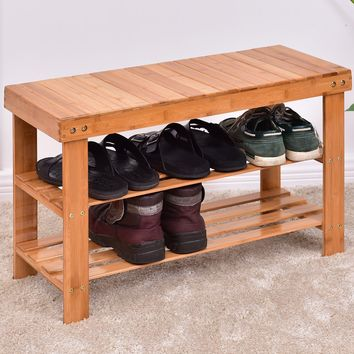 Costway 3 Tier Bamboo Shoe Rack Bench Storage Shelf Organizer Entryway Home Furni