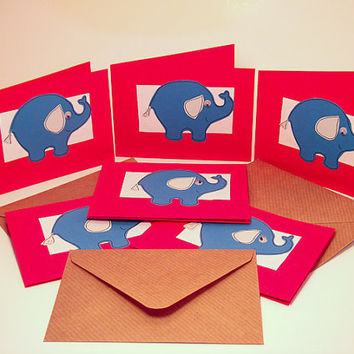 Greeting Cards - Note Cards Pack of 6 - Blue Elephant Greeting Card 6 Pack - Mini Note Cards