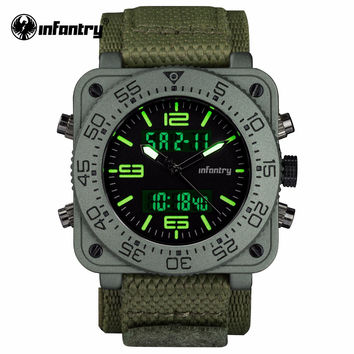 Mens Quartz Watches New Military Army Green Digital Watch Square Face Mens Clock