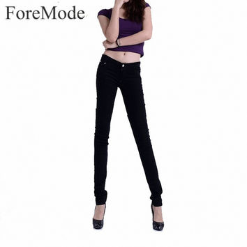 Foremode Boutique Female Women's Candy Colored Jeans Woman Skinny Solid Color Stovepipe Pencil Jeans women slim jeans 15 color