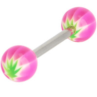 Acrylic UV Pink HEMP Beach Ball Barbell Tongue Ring | Body Candy Body Jewelry