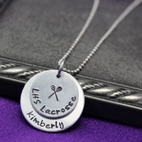 Lacrosse Necklace, Hand Stamped jewelry,  Personalized necklace, Sports Necklace, Team Neklace