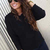 Comfy Button-Down Sweater in Black   The Rage