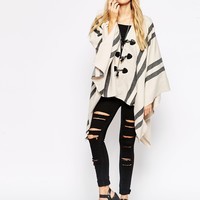 ASOS Cape With Stripe Panel And Toggle Detail