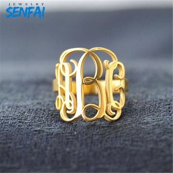 Private Custom Personality Monogram Initials Cooper/Stainless Steel/Zinc Alloy Fashion Rings Jewelry for Women Free Shipping