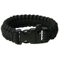 Paracord Survival Bracelet With Whistle - 9 Inch - Black - 12 1/2' of Parachute Cord