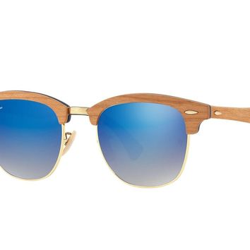Ray Ban Sunglasses Clubmaster RB3716M 11807Q Gold Wood Frames Blue Lens 51MM