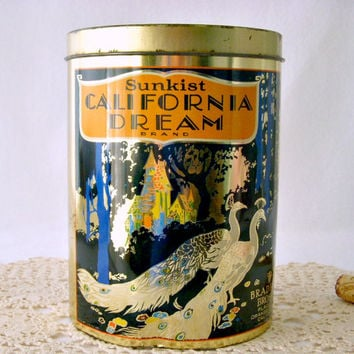 Vintage California Dream Brand Sunkist Advertising Tin, 1960's Peacock Tin Canister, Cheinco Housewares