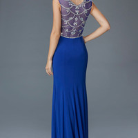 G2041 Jersey Jeweled Sheer Illusion Prom Dress Evening Gown Royal Blue