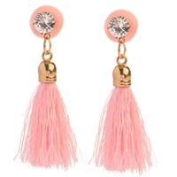 PRETTY IN PINK TASSEL RHINESTONE EARPLUGS