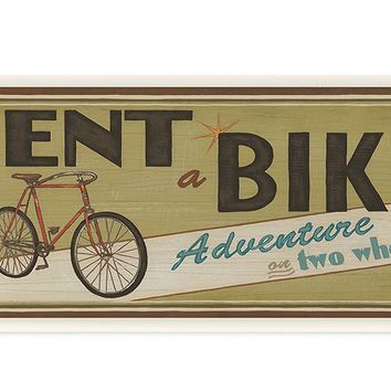 Stupell Home Décor Khaki Rent A Bike Store Sign Wall Plaque Art, 7 x 0.5 x 17, Proudly Made in USA