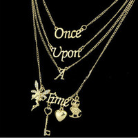 Multi Layer Maxi Necklace Gold 2016 New Design Fashion Once Upon A Time Statement Necklaces & Pendants