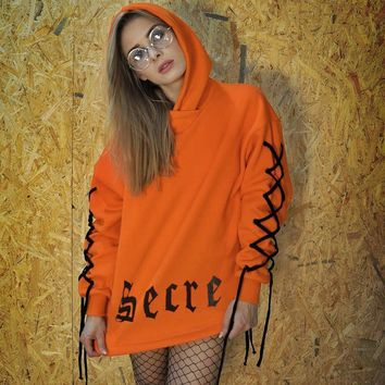 Women Personality Gothic Letter Bandage Long Sleeve Loose Middle Long Section Hooded Sweater Tops