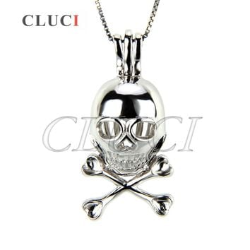 CLUCI Skull Charm Necklace 925 Sterling Silver Pendant Women Jewelry, Cage Pendant can put Pearls into
