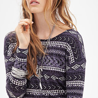 FOREVER 21 Southwestern Print Knit Top Black/Cream