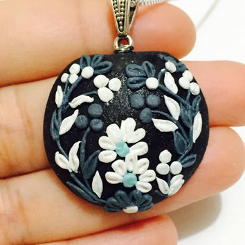 Black floral Polymer clay jewelry / Unique pendant / Earring /Handmade necklace