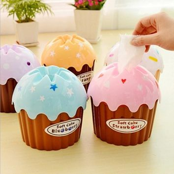 Hot Sale Paper Box Cute Cupcake Tissue Box Case Holder Toilet Paper Covers Paper Towel Tube