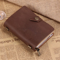 Handmade Daily Organizer Journal - Vintage Refillable Leather Traveler's Notebook - Passport Size