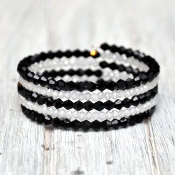 Black & White Sparkle Wrap Bracelet