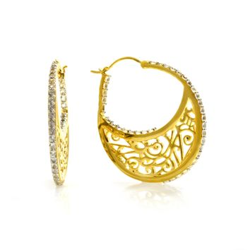Large 14K Gold Plated Sterling Silver Hoop Earrings with Signatu 498964d571c1