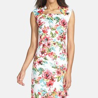 Tahari Print Jacquard Sheath Dress