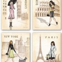 "Paris, London, Roma and New York Set by Andrea Laliberte 11""x14"" Art Print Poster"