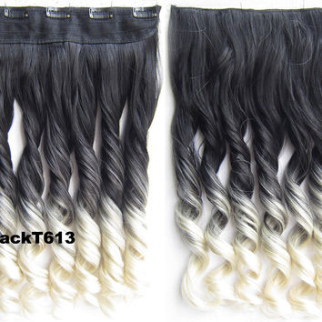 "Dip dye hairpieces New Fashion 24"" Women Clip in on gradient wig Bath & Beauty Hair Ombre Hair Extensions Two Tone Curly Hair Gradient Hair Extension Colorful Hairpieces GS-888 Black T 613,1PCS"