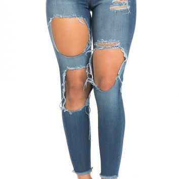 Cut Out Ankle Distressed Skinny Jeans in Blue (Plus Sizes Available)