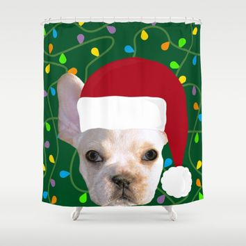 French Bulldog Santa Shower Curtain by UMe Images