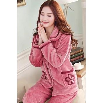 Flannel Thick Pajamas Coral Velvet Long Sleeved Pajamas